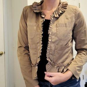 J Crew Khaki Ruffle Pocket Open Jacket